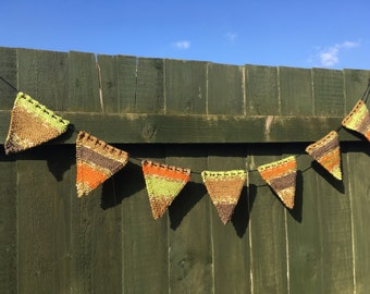 Green and Brown Multi-coloured Knitted Bunting