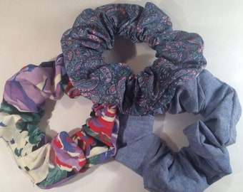 3 Hair scrunchies Scruncheys Scrunchys scrunchers Ponytail Pony Tail Covers Holders Ties and Elastics - Red Blue Paisley Denim floral stuff