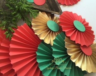 CHRISTMAS paper fans backdrop/Paper rosettes/Pinwheel/Home styling/Home decor/Themed party/Christmas Eve/Christmas party/New Year decor
