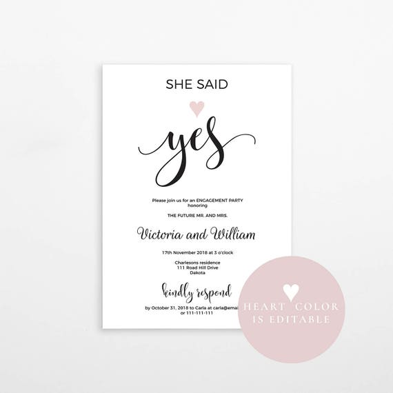 She said yes Engagement party invitation Engagement template