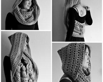Crochet PATTERN: Rhiannon Hooded Cowl / Easy Crochet Pattern / Pixie Hood / Convertible Shawl Wrap - Instant Download PDF
