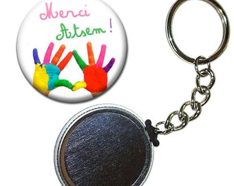Keyring Badge 38 mm - thank you for pre-school kindergarten painting child gift