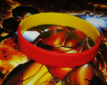 I (Heart) Tony Stark / Iron Man or Customized Red and Yellow Double Sided Silicone Bracelet
