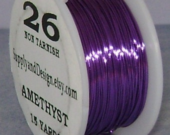 26 Gauge Amethyst Non Tarnish Permanently Colored Enameled Wire, 45 feet