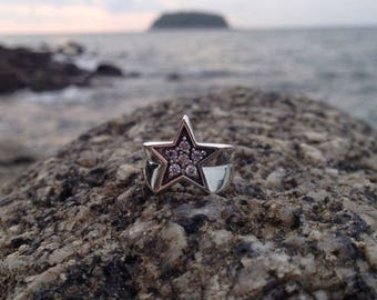 Star ring. Silver ring. Man ring. Woman ring. Ring with zircons.