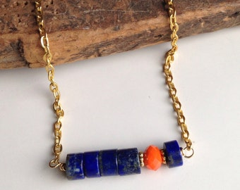 Lapis Necklace, Dark Blue Necklace, Lapis Rondelles, Orange Faceted Glass Beads, Orange and Blue, Brass Chain