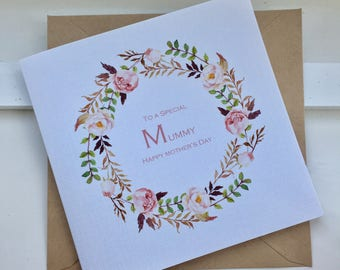To a Special Mum/ Mummy Happy Mothers Day Peonies Floral Wreath Card