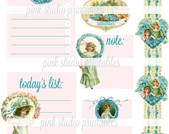 Pretty Valentine,  printable journal cards, tuck spots, stickers, for junk journals, planners, bullet journals (vintage ephemera)