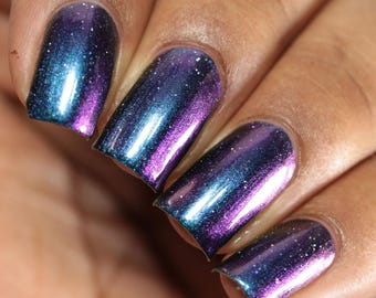 "Nail polish - ""Too Many Moves"" blue / purple / gold multichrome polish"