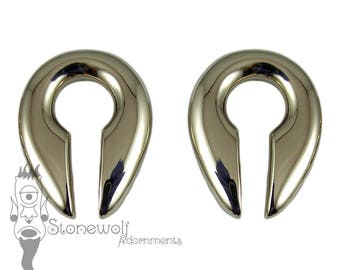 Pair of Bronze Keyhole Ear Weights for Stretched Lobes
