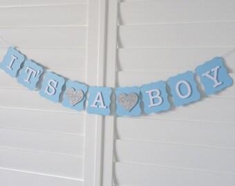 IT'S A BOY Banner Bunting Garland - Baby Shower decoration, Baby Shower sign, Birth Announcement