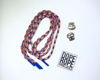 Rainbow Round Shoelace (paracord)  with custom color aglets