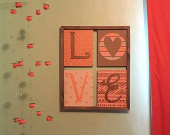 LOVE Canvas and Wood Wall Art