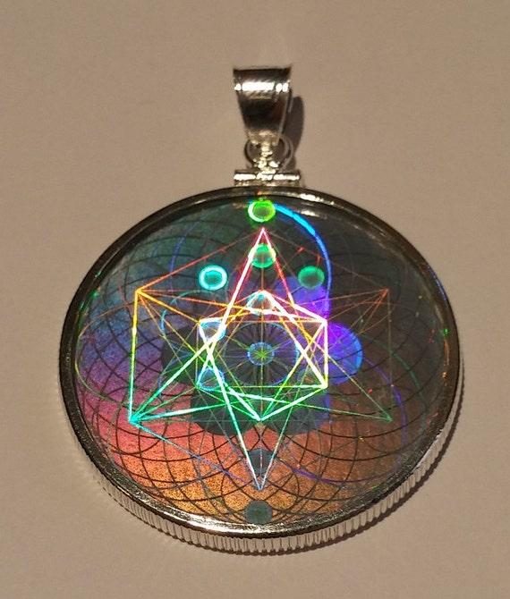 Emf protection sacred geometry hologram pendant sterling mozeypictures Images