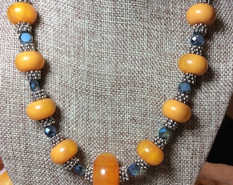 Honey Barrel Amber with Blue Glass Beads, Necklace and Earring Set