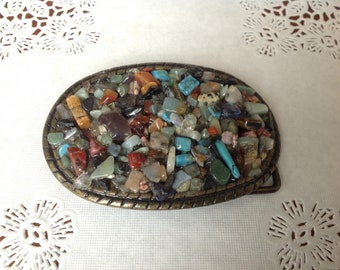 Western Buckle with Natural stones