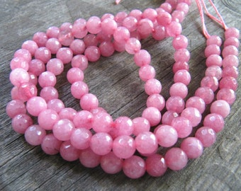 6mm JADE Beads in Medium Pink, Faceted, Round, Full Strand, 63 Pcs, Gemstones, Pink Stone Beads