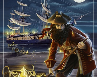 Seattle, Washington - Pirate and Treasure (Art Prints available in multiple sizes)