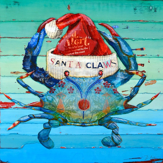 Santa Claws ART PRINT or CANVAS Christmas Holiday Crab Beach Nautical Coastal home wall decor decor gift poster painting, all sizes