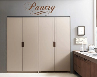 Pantry, Pantry Cabinet  Wall Decal, Vinyl Decal, Kitchen, Pantry Closet Wall Name