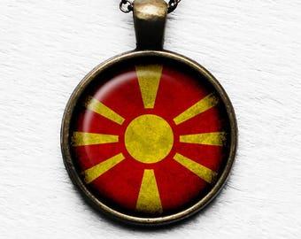Republic of Macedonia Macedonian Flag Pendant & Necklace