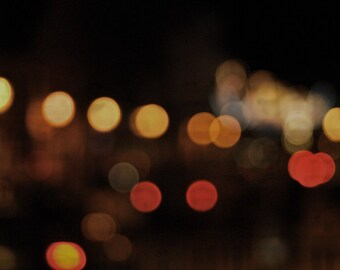 Abstract Light Photography, Bokeh, Modern Circles Print, Sparkles City Lights, Red, Orange, Yellow Wall ARt 8x12 and up