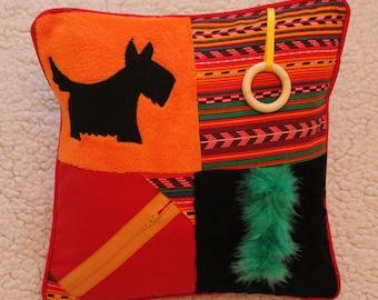 Fidget Cushion ~ Sensory Activity Pillow ~ Dementia Twiddle Cushion ~ Alzheimer Gift ~ Busy Cushion ~ 'Scottie Dog at Sunset'