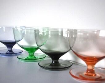 Coloured Glass Dessert Bowls – Set of 4