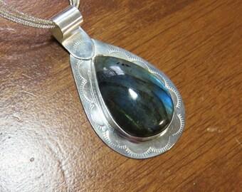 S-92 Labradorite Sterling Silver Pendant, Labradorite Necklace, Gemstone Necklace, Silversmith Necklace, Silversmith Pendant, 925 Pendant