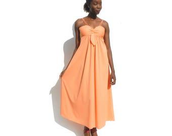 Peach pink empire waist evening dress PETITE 1970s 70s VINTAGE