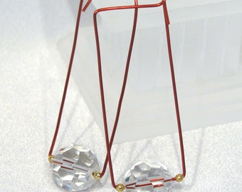 Red Wire Squared Hoops with Large Faceted Crystal Dangle Earrings - E154
