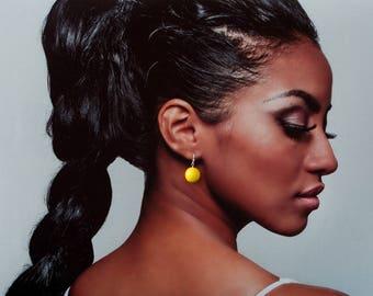 8-18 mm Yellow canary earrings, Yellow bead earrings, Yellow color earrings, Bright yellow earrings, Earrings for black women