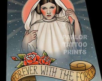 Princesa Leia Star Wars Tattoo Flash impresión del arte
