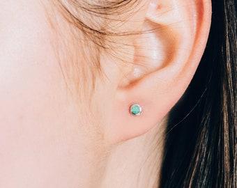 Green opal fire earrings in sterling silver