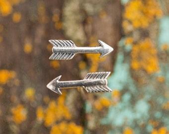 Arrow Earrings, Sterling Silver Stud Earrings, ArrowJewelry, Silver Arrow Earrings, Archery Gift