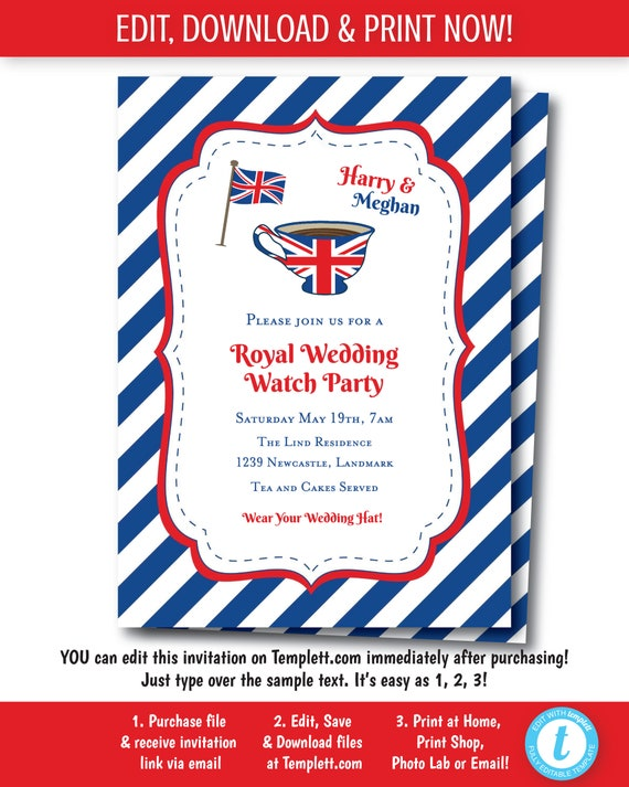 Royal tea party invitation british tea party birthday stopboris
