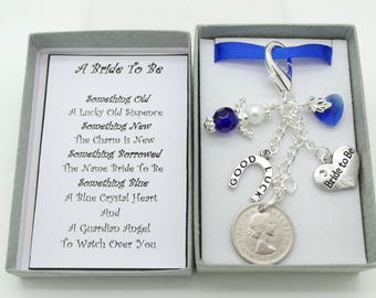 Personalised bride to be sixpence clip on charm gift. Wedding favour gift. Bride to be gift. Something old, New,