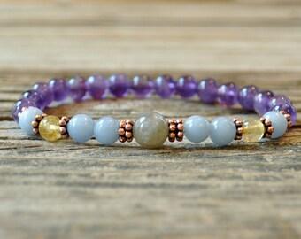 Anxiety Bracelet, Labradorite, Angelite, Rutilated Quartz, Amethyst, Yoga Bracelet, Crystal Healing, Meditation Bracelet, Energy Bracelet