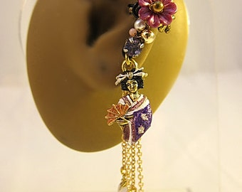 Geisha Earrings - Geisha Jewelry - Purple Japanese Earrings - Asian Ear Cuff - Kimono Earrings - Purple Cuff Earring - Japanese Geisha