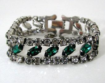 Vintage Joseph Wiesner NY Green Rhinestone Bracelet Emerald Color