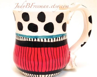 Ceramic Mug Red White and Black Made to Order Handmade Kitchen Black Spotted Queen Coris Stoneware Coffee Cup MG0031