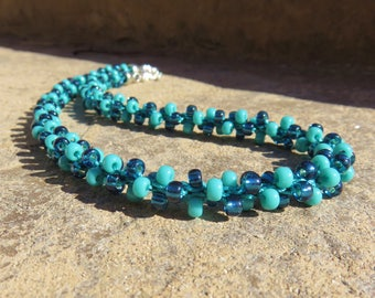 N-38 Turquoise Beaded Kumihimo Weave Necklace, Kumihimo Necklace, Woven Necklace, Beaded Necklace, Seed Bead Necklace
