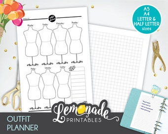 Outfit Planner Insert Printable A5 Outfit Planner Inserts A5 Wardrobe Planner Inserts A5 filofax large kikki k A5 color crush