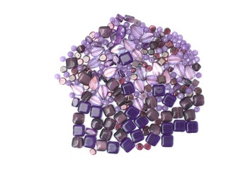 Mixed lot of purple shaded beads-DESTASH