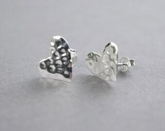 925 Sterling silver Embossed Hearts stud earrings