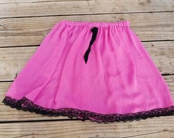 Vintage Hot Pink & Black Metallic Stripe Mini Half Slip