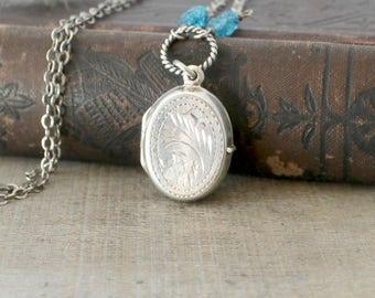 Locket Necklace, December Birthstone Locket, Blue Topaz Necklace, Sterling Silver Locket,  Vintage Locket, Push Present, London Blue Topaz