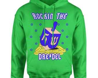 Rockin' The Dreidel Ugly Hanukkha Adult Hoodie Sweatshirt