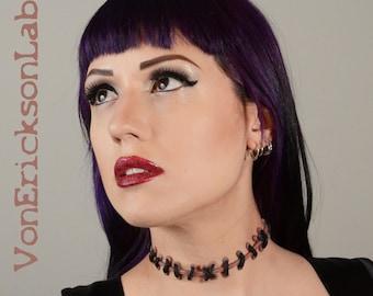 Stitch Necklace  - Frankenstein Monster Glam Stitches Choker  Thin  stitches