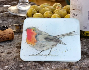 Robin Coaster - Recycled Glass Drinks Mat, Countryside Bird Gift, Country Kitchen, Gift Under 5